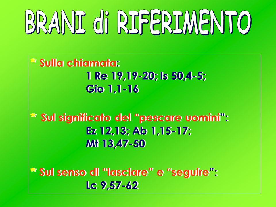 * Sulla chiamata: 1 Re 19,19-20; Is 50,4-5; Gio 1,1-16 * Sul significato del pescare uomini : Ez 12,13; Ab 1,15-17; Mt 13,47-50 * Sul senso dl lasciare e seguire : Lc 9,57-62 * Sulla chiamata: 1 Re 19,19-20; Is 50,4-5; Gio 1,1-16 * Sul significato del pescare uomini : Ez 12,13; Ab 1,15-17; Mt 13,47-50 * Sul senso dl lasciare e seguire : Lc 9,57-62