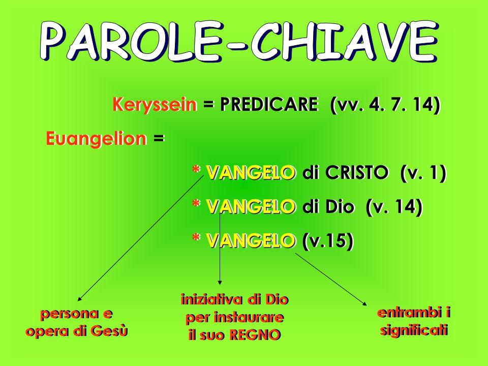 Keryssein = PREDICARE (vv. 4. 7. 14) Euangelion = VANGELO * VANGELO di CRISTO (v.