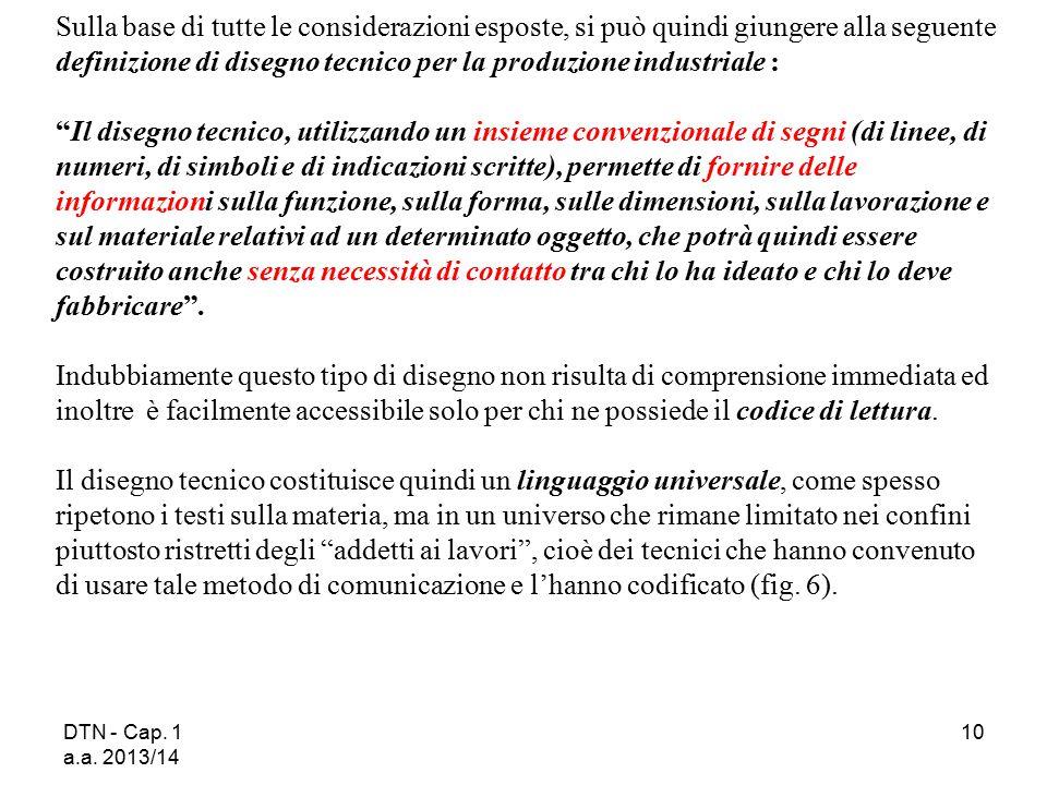 DTN - Cap. 1 a.a. 2013/14 10 Sulla base di tutte le considerazioni esposte, si può quindi giungere alla seguente definizione di disegno tecnico per la