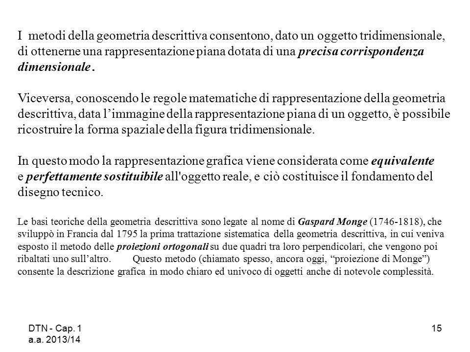 DTN - Cap. 1 a.a. 2013/14 15 I metodi della geometria descrittiva consentono, dato un oggetto tridimensionale, di ottenerne una rappresentazione piana