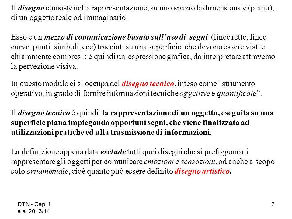 DTN - Cap. 1 a.a. 2013/14 2 Il disegno consiste nella rappresentazione, su uno spazio bidimensionale (piano), di un oggetto reale od immaginario. Esso