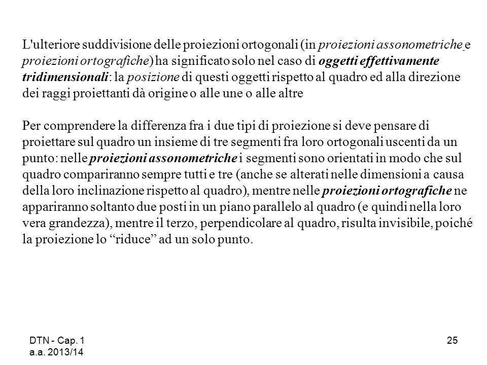 DTN - Cap. 1 a.a. 2013/14 25 L'ulteriore suddivisione delle proiezioni ortogonali (in proiezioni assonometriche e proiezioni ortografiche) ha signific