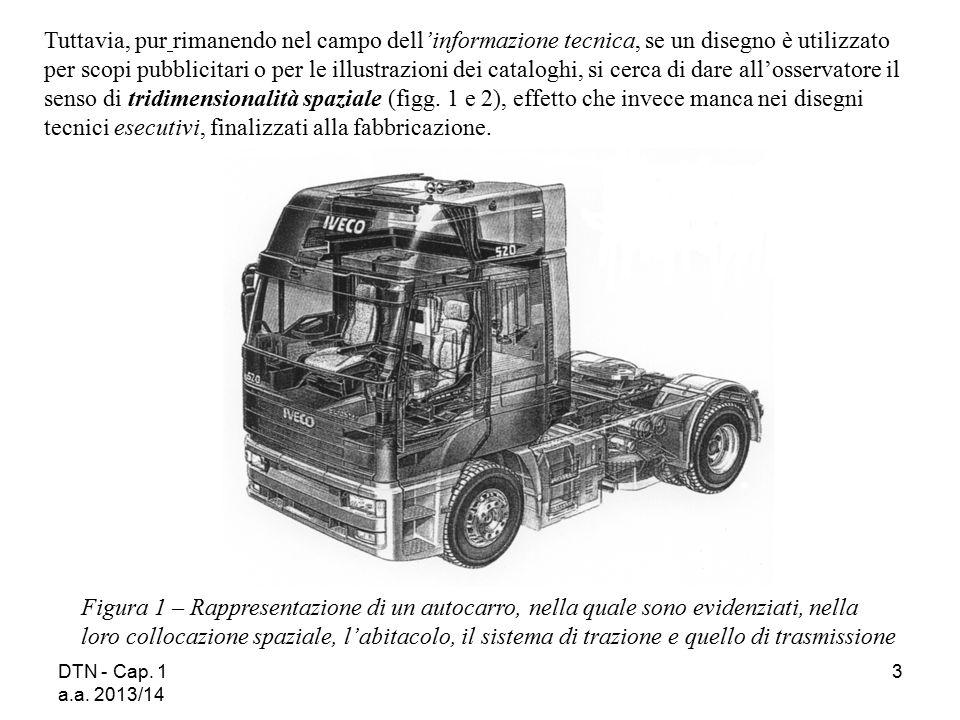 DTN - Cap. 1 a.a. 2013/14 3 Figura 1 – Rappresentazione di un autocarro, nella quale sono evidenziati, nella loro collocazione spaziale, l'abitacolo,