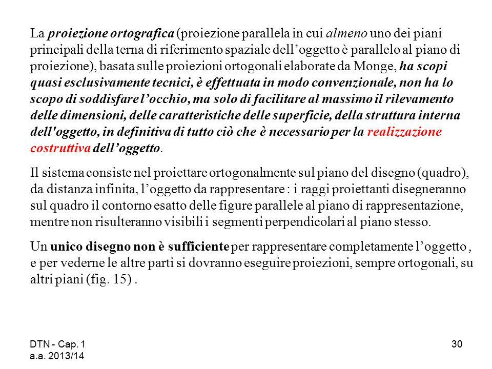 DTN - Cap. 1 a.a. 2013/14 30 La proiezione ortografica (proiezione parallela in cui almeno uno dei piani principali della terna di riferimento spazial