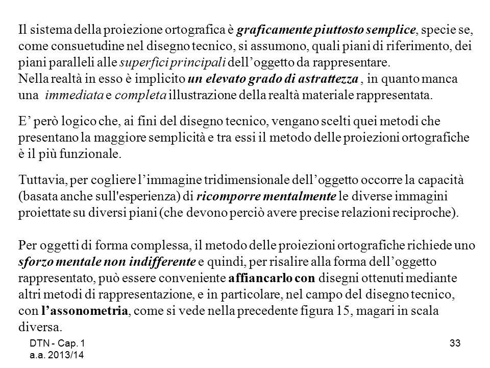 DTN - Cap. 1 a.a. 2013/14 33 Il sistema della proiezione ortografica è graficamente piuttosto semplice, specie se, come consuetudine nel disegno tecni