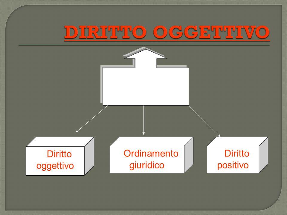 Insieme delle norme giuridiche che mirano ad organizzare e regolare la vita di un gruppo sociale = Diritto oggettivo = Ordinamento giuridico = Diritto