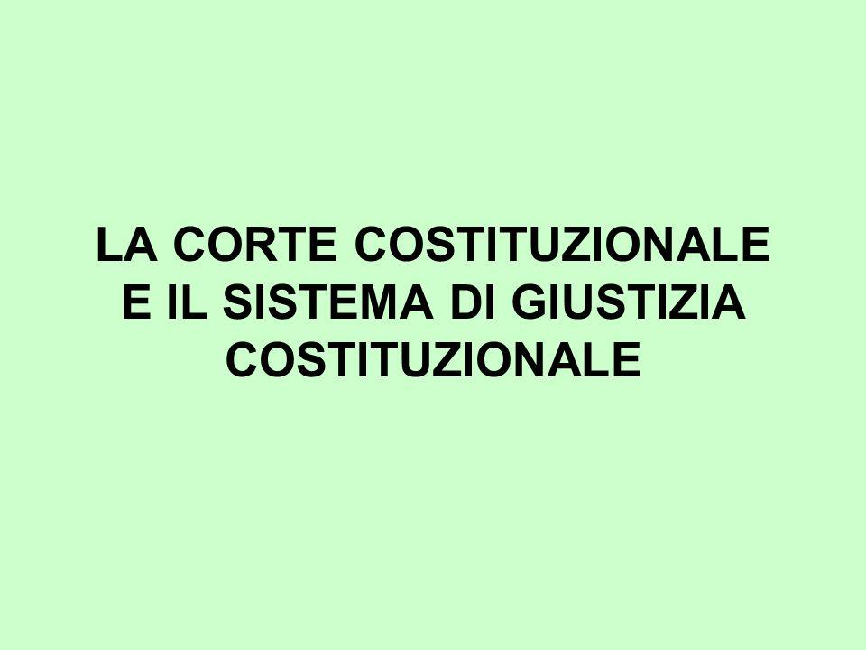 LA CORTE COSTITUZIONALE E IL SISTEMA DI GIUSTIZIA COSTITUZIONALE