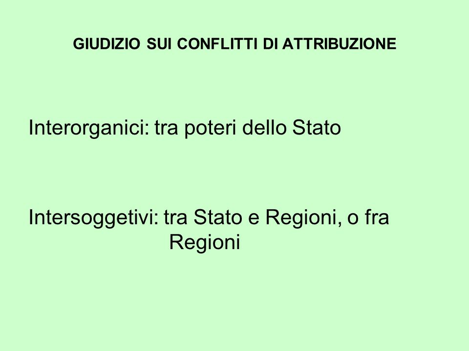 GIUDIZIO SUI CONFLITTI DI ATTRIBUZIONE Interorganici: tra poteri dello Stato Intersoggetivi: tra Stato e Regioni, o fra Regioni