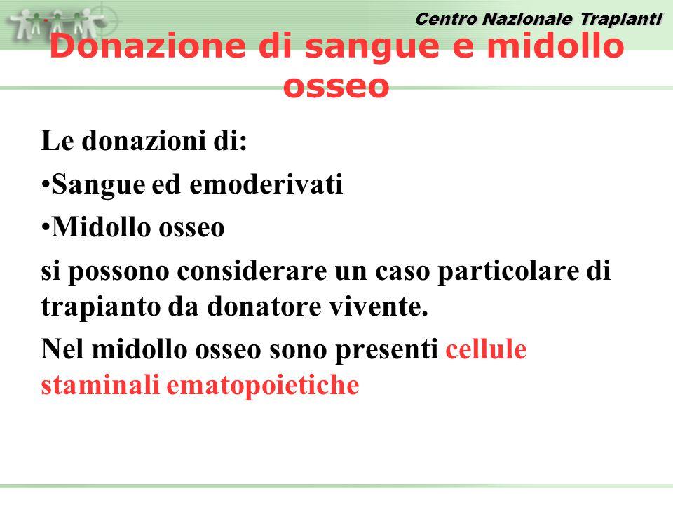 Centro Nazionale Trapianti Donazione di sangue e midollo osseo Le donazioni di: Sangue ed emoderivati Midollo osseo si possono considerare un caso particolare di trapianto da donatore vivente.