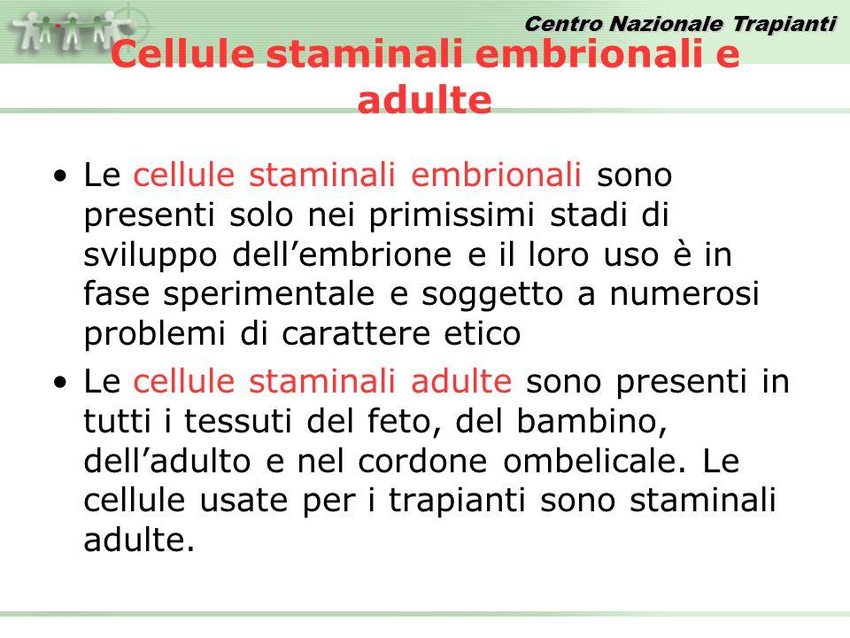 Centro Nazionale Trapianti Cellule staminali embrionali e adulte Le cellule staminali embrionali sono presenti solo nei primissimi stadi di sviluppo d