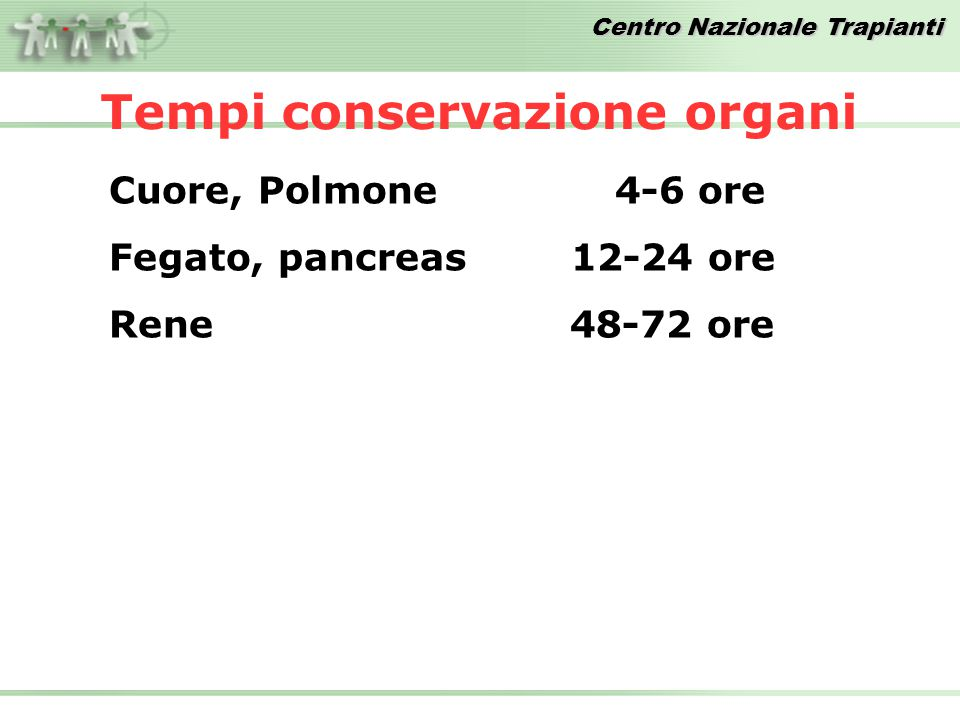 Tempi conservazione organi Cuore, Polmone 4-6 ore Fegato, pancreas 12-24 ore Rene 48-72 ore