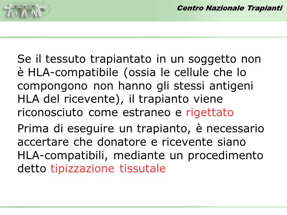Centro Nazionale Trapianti Se il tessuto trapiantato in un soggetto non è HLA-compatibile (ossia le cellule che lo compongono non hanno gli stessi ant