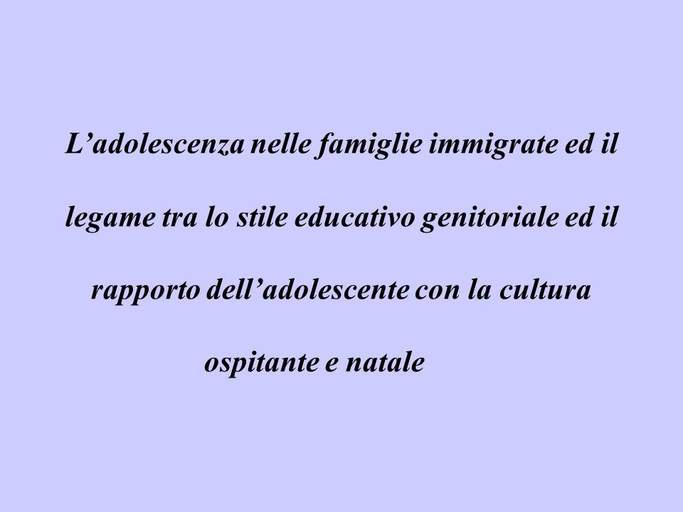 L'adolescenza nelle famiglie immigrate ed il legame tra lo stile educativo genitoriale ed il rapporto dell'adolescente con la cultura ospitante e nata