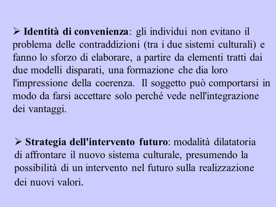  Identità di convenienza: gli individui non evitano il problema delle contraddizioni (tra i due sistemi culturali) e fanno lo sforzo di elaborare, a