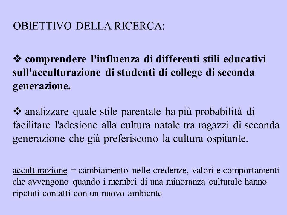 OBIETTIVO DELLA RICERCA:  comprendere l'influenza di differenti stili educativi sull'acculturazione di studenti di college di seconda generazione. 