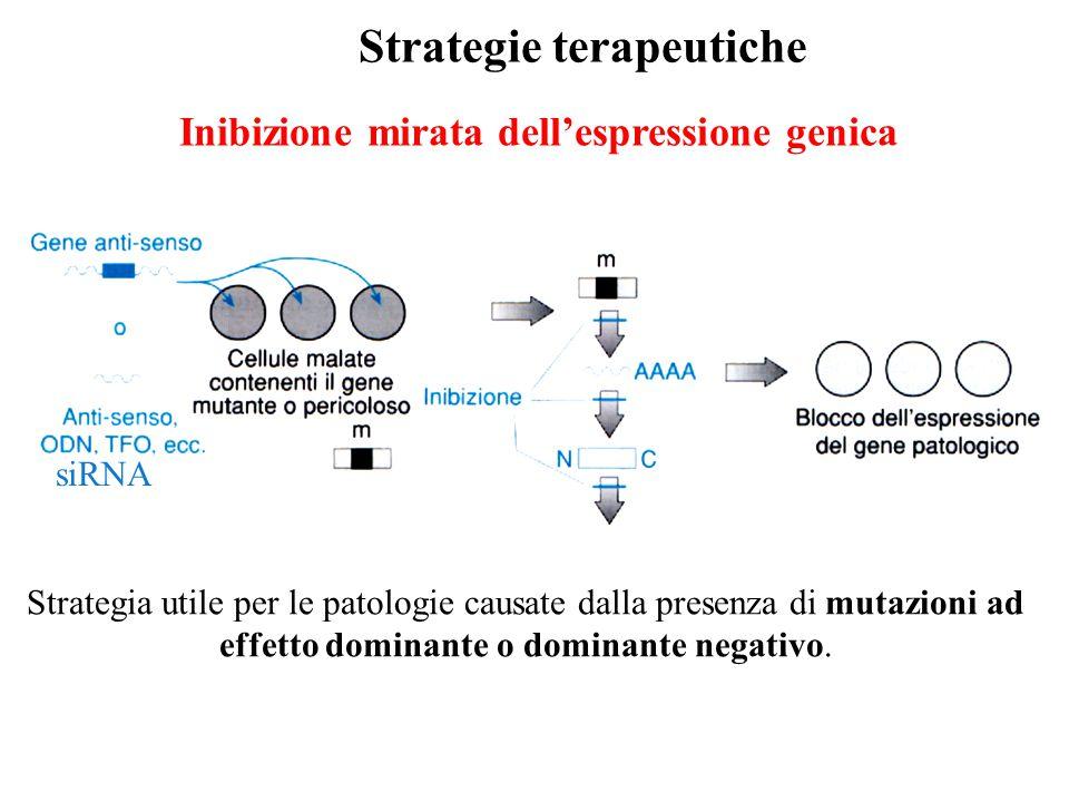 Inibizione mirata dell'espressione genica Strategie terapeutiche Strategia utile per le patologie causate dalla presenza di mutazioni ad effetto domin