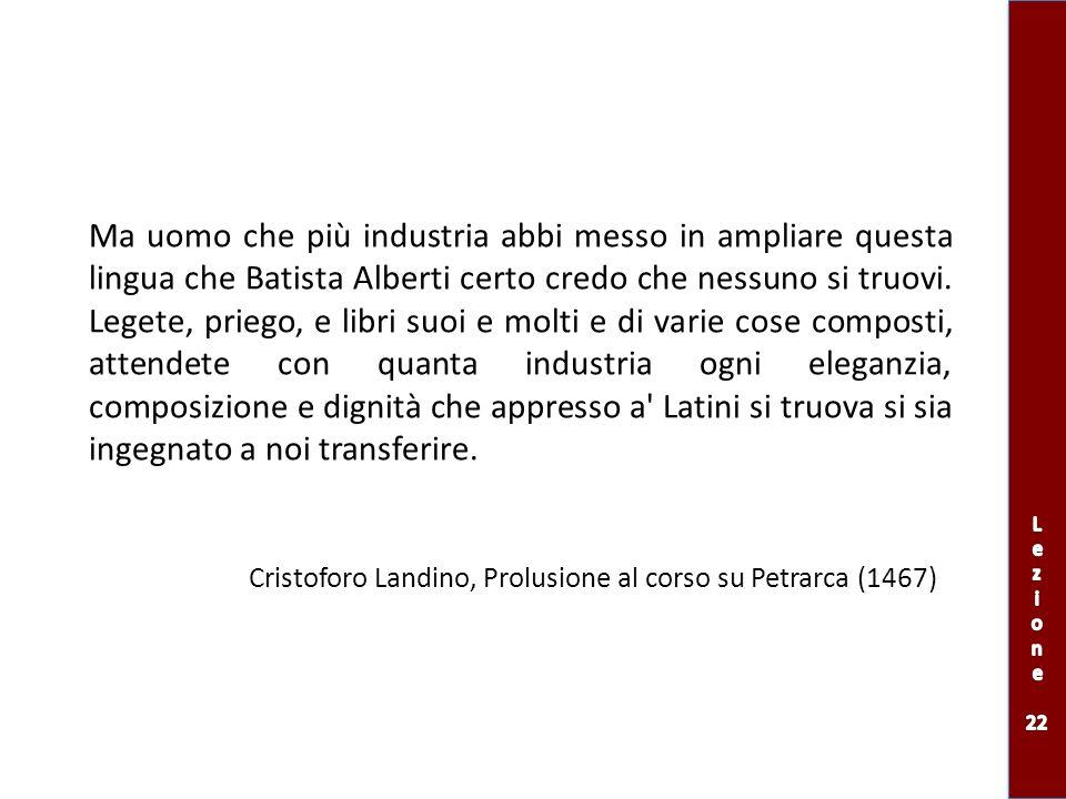 Niuno potrà essere nonché eloquente ma pure tollerabile dicitore nella nostra lingua, se prima non arà vera e perfetta cognizione delle lettere latine Cristoforo Landino, Prolusione al corso su Petrarca (1467)