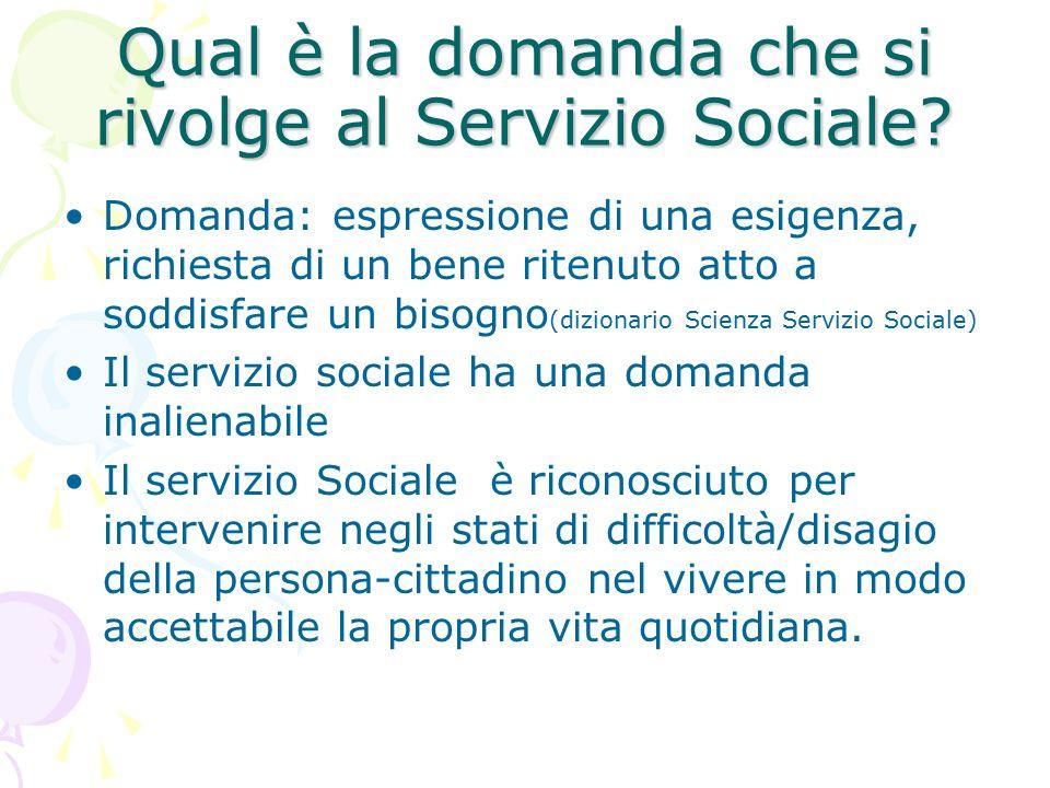 Qual è la domanda che si rivolge al Servizio Sociale? Domanda: espressione di una esigenza, richiesta di un bene ritenuto atto a soddisfare un bisogno
