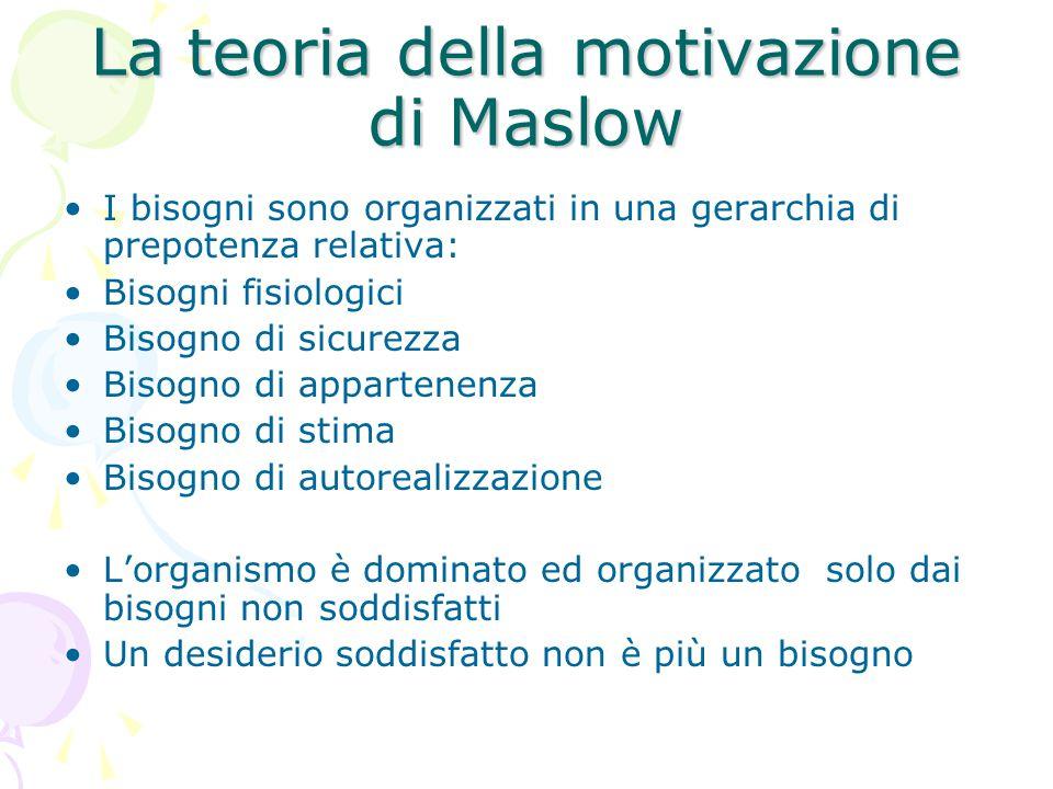 La teoria della motivazione di Maslow I bisogni sono organizzati in una gerarchia di prepotenza relativa: Bisogni fisiologici Bisogno di sicurezza Bisogno di appartenenza Bisogno di stima Bisogno di autorealizzazione L'organismo è dominato ed organizzato solo dai bisogni non soddisfatti Un desiderio soddisfatto non è più un bisogno