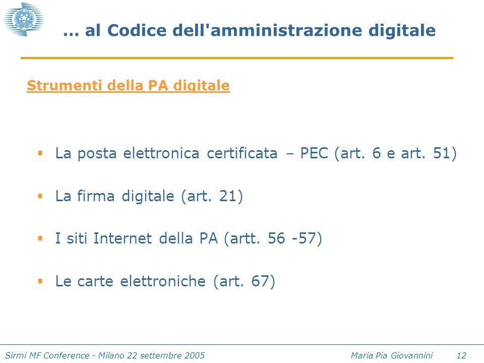 Sirmi MF Conference - Milano 22 settembre 2005 Maria Pia Giovannini 12 … al Codice dell'amministrazione digitale  La posta elettronica certificata –