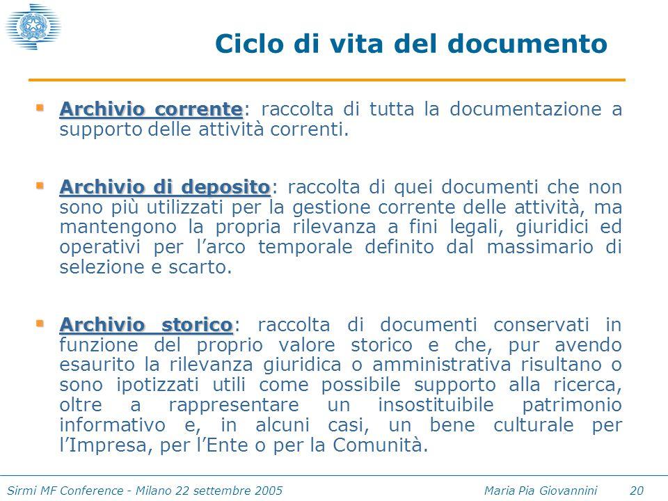 Sirmi MF Conference - Milano 22 settembre 2005 Maria Pia Giovannini 20 Ciclo di vita del documento  Archivio corrente  Archivio corrente: raccolta d