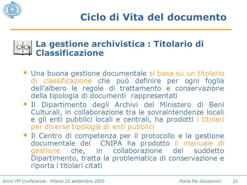 Sirmi MF Conference - Milano 22 settembre 2005 Maria Pia Giovannini 21 Ciclo di Vita del documento La gestione archivistica : Titolario di Classificaz