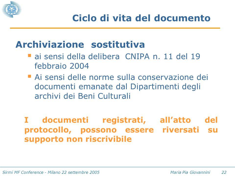 Sirmi MF Conference - Milano 22 settembre 2005 Maria Pia Giovannini 22 Ciclo di vita del documento Archiviazione sostitutiva  ai sensi della delibera