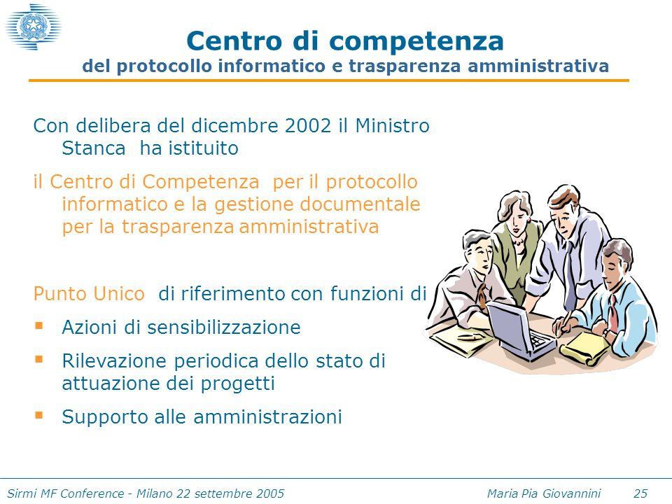 Sirmi MF Conference - Milano 22 settembre 2005 Maria Pia Giovannini 25 Con delibera del dicembre 2002 il Ministro Stanca ha istituito il Centro di Com