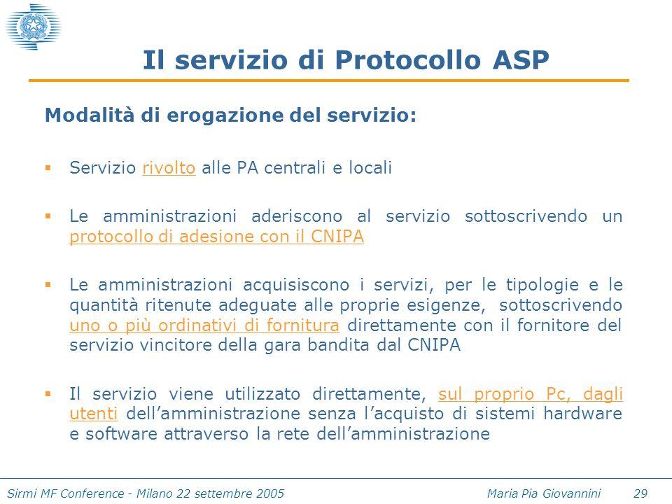 Sirmi MF Conference - Milano 22 settembre 2005 Maria Pia Giovannini 29 Il servizio di Protocollo ASP Modalità di erogazione del servizio:  Servizio r