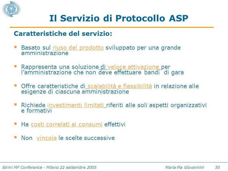 Sirmi MF Conference - Milano 22 settembre 2005 Maria Pia Giovannini 30 Caratteristiche del servizio:  Basato sul riuso del prodotto sviluppato per un