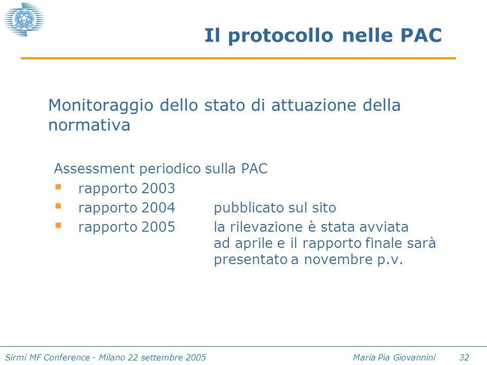 Sirmi MF Conference - Milano 22 settembre 2005 Maria Pia Giovannini 32 Il protocollo nelle PAC Monitoraggio dello stato di attuazione della normativa