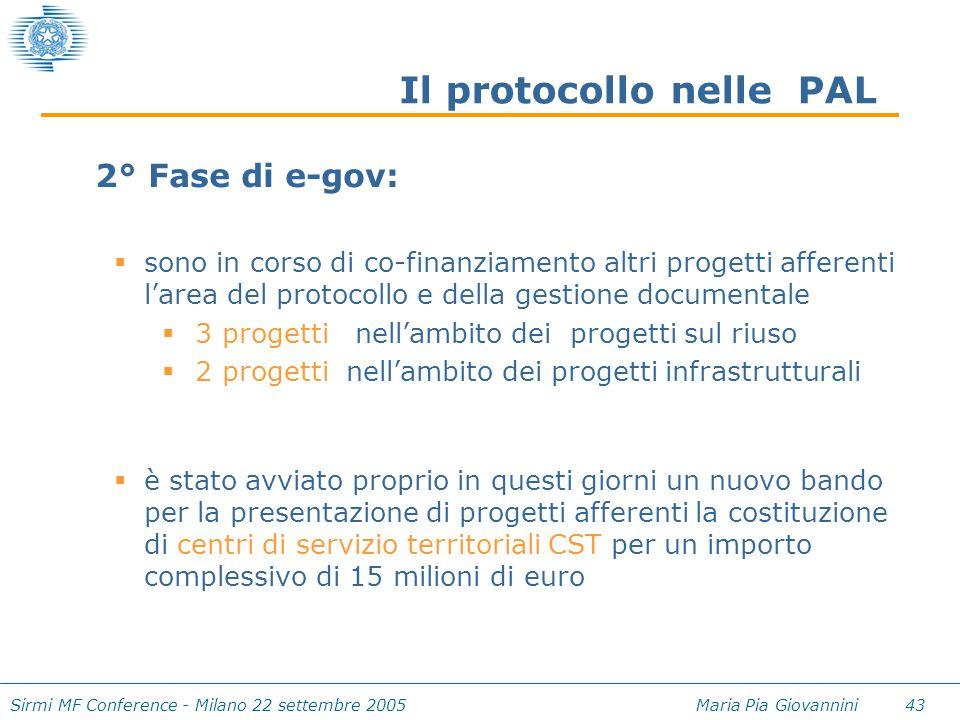 Sirmi MF Conference - Milano 22 settembre 2005 Maria Pia Giovannini 43 Il protocollo nelle PAL 2° Fase di e-gov:  sono in corso di co-finanziamento a