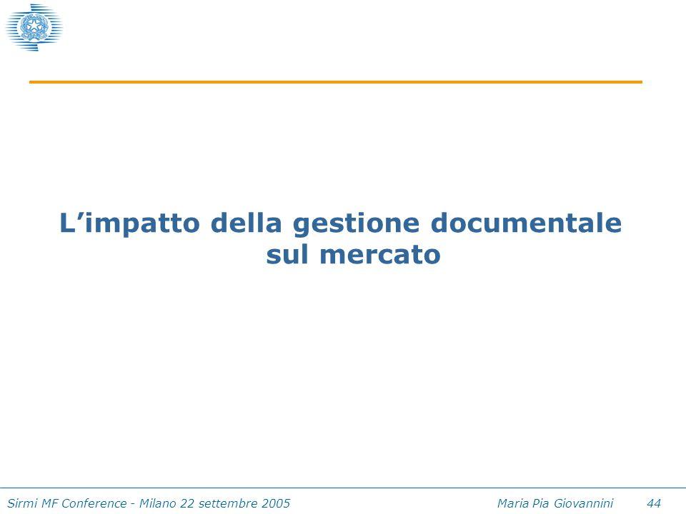 Sirmi MF Conference - Milano 22 settembre 2005 Maria Pia Giovannini 44 L'impatto della gestione documentale sul mercato