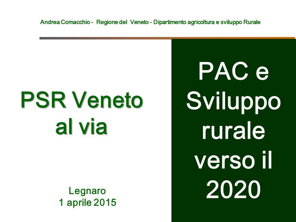 Andrea Comacchio - Regione del Veneto - Dipartimento agricoltura e sviluppo Rurale PSR Veneto al via Legnaro 1 aprile 2015 PAC e Sviluppo rurale verso