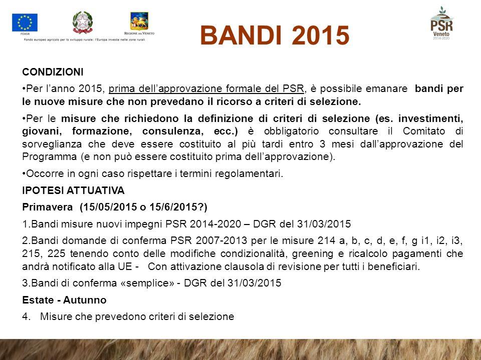 BANDI 2015 CONDIZIONI Per l'anno 2015, prima dell'approvazione formale del PSR, è possibile emanare bandi per le nuove misure che non prevedano il ric