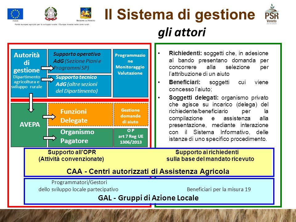 Il Sistema di gestione Richiedenti: soggetti che, in adesione al bando presentano domanda per concorrere alla selezione per l'attribuzione di un aiuto