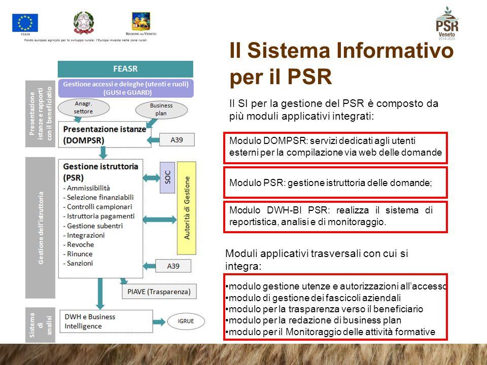 Il Sistema Informativo per il PSR Il SI per la gestione del PSR è composto da più moduli applicativi integrati: Modulo DOMPSR: servizi dedicati agli u