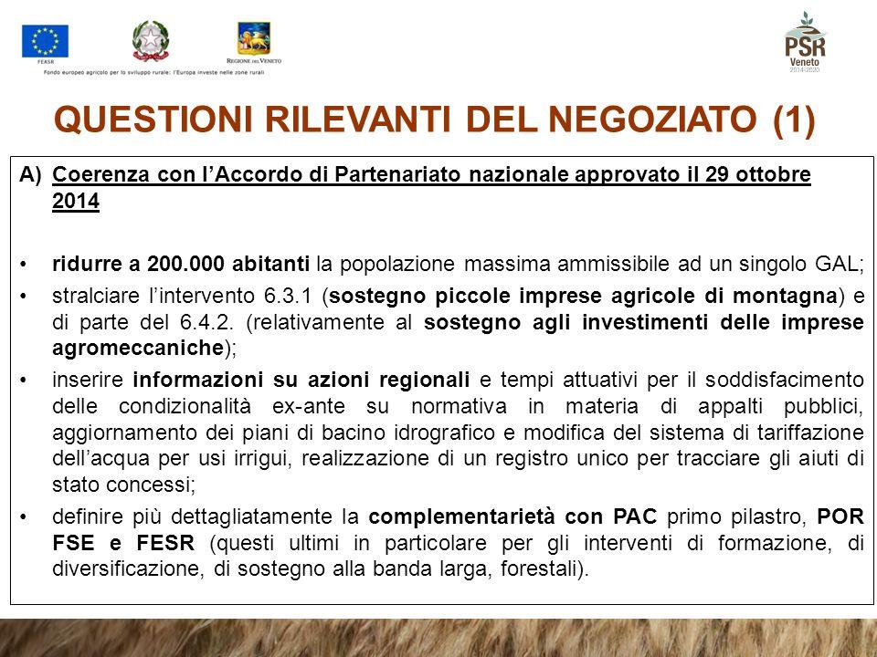 QUESTIONI RILEVANTI DEL NEGOZIATO (1) A)Coerenza con l'Accordo di Partenariato nazionale approvato il 29 ottobre 2014 ridurre a 200.000 abitanti la po