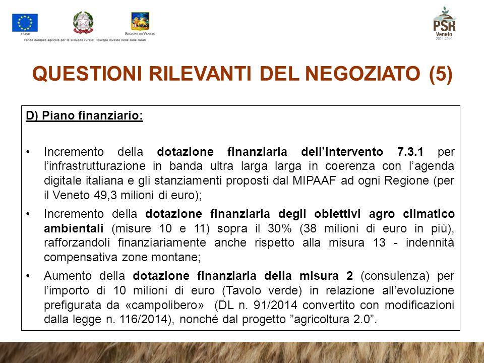 QUESTIONI RILEVANTI DEL NEGOZIATO (5) D) Piano finanziario: Incremento della dotazione finanziaria dell'intervento 7.3.1 per l'infrastrutturazione in
