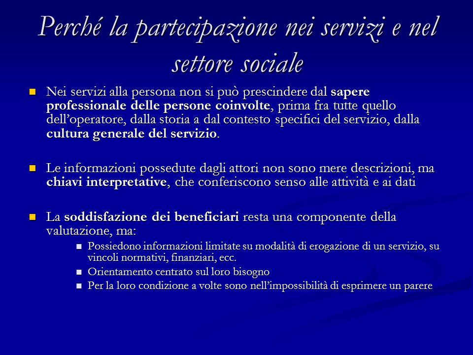 Perché la partecipazione nei servizi e nel settore sociale Nei servizi alla persona non si può prescindere dal sapere professionale delle persone coin