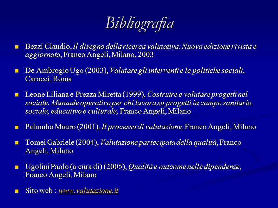 Bibliografia Bezzi Claudio, Il disegno della ricerca valutativa.