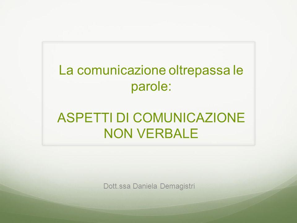 La comunicazione oltrepassa le parole: ASPETTI DI COMUNICAZIONE NON VERBALE Dott.ssa Daniela Demagistri