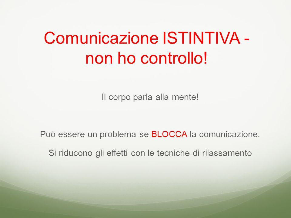 Comunicazione ISTINTIVA - non ho controllo. Il corpo parla alla mente.