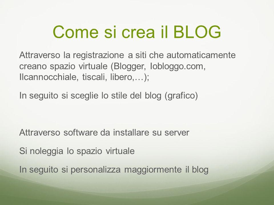 Come si crea il BLOG Attraverso la registrazione a siti che automaticamente creano spazio virtuale (Blogger, Iobloggo.com, Ilcannocchiale, tiscali, libero,…); In seguito si sceglie lo stile del blog (grafico) Attraverso software da installare su server Si noleggia lo spazio virtuale In seguito si personalizza maggiormente il blog