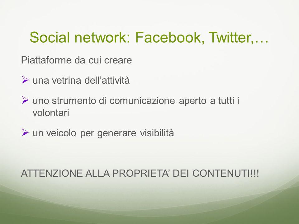 Social network: Facebook, Twitter,… Piattaforme da cui creare  una vetrina dell'attività  uno strumento di comunicazione aperto a tutti i volontari  un veicolo per generare visibilità ATTENZIONE ALLA PROPRIETA' DEI CONTENUTI!!!