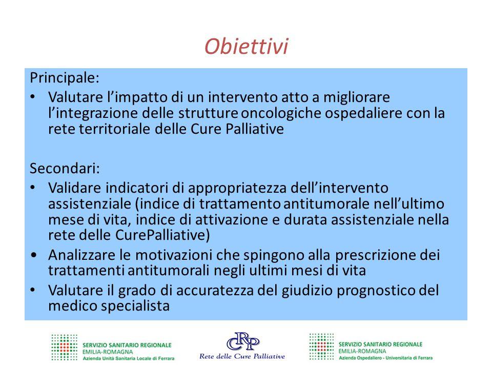 Obiettivi Principale: Valutare l'impatto di un intervento atto a migliorare l'integrazione delle strutture oncologiche ospedaliere con la rete territo