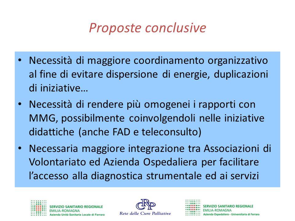 Proposte conclusive Necessità di maggiore coordinamento organizzativo al fine di evitare dispersione di energie, duplicazioni di iniziative… Necessità