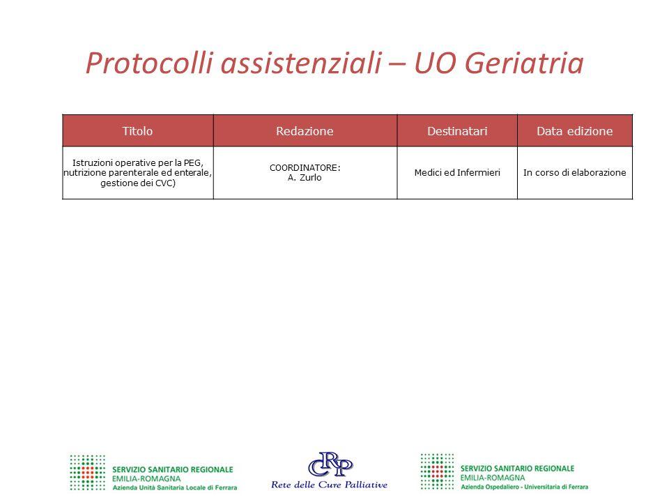 Protocolli assistenziali – UO Geriatria TitoloRedazioneDestinatariData edizione Istruzioni operative per la PEG, nutrizione parenterale ed enterale, g