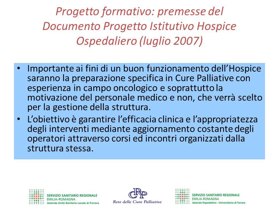 Progetto formativo: premesse del Documento Progetto Istitutivo Hospice Ospedaliero (luglio 2007) Importante ai fini di un buon funzionamento dell'Hosp