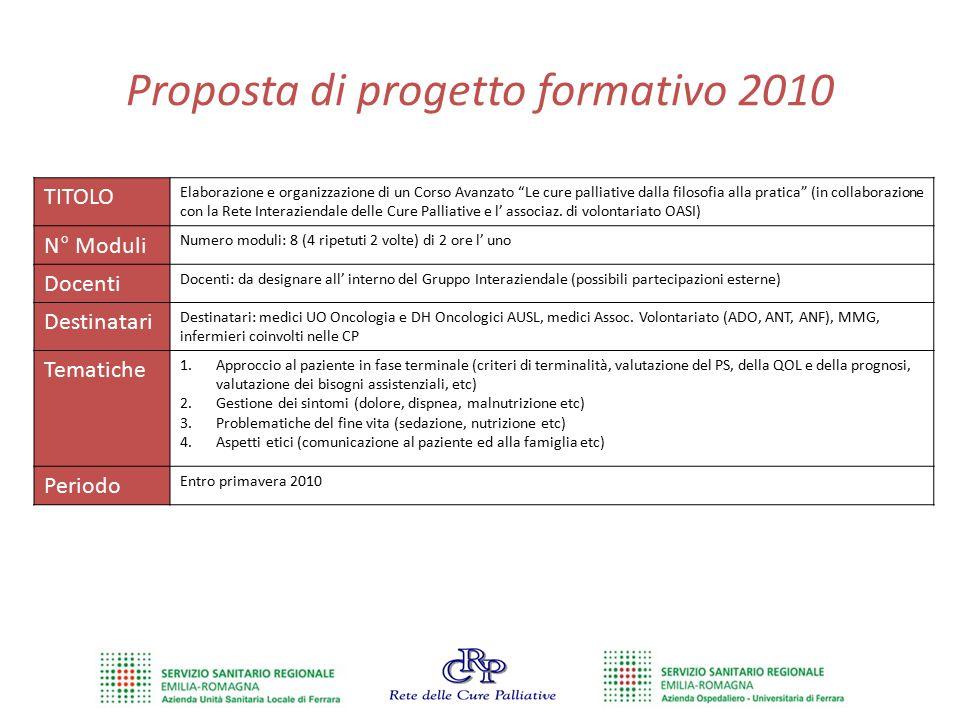 """Proposta di progetto formativo 2010 TITOLO Elaborazione e organizzazione di un Corso Avanzato """"Le cure palliative dalla filosofia alla pratica"""" (in co"""